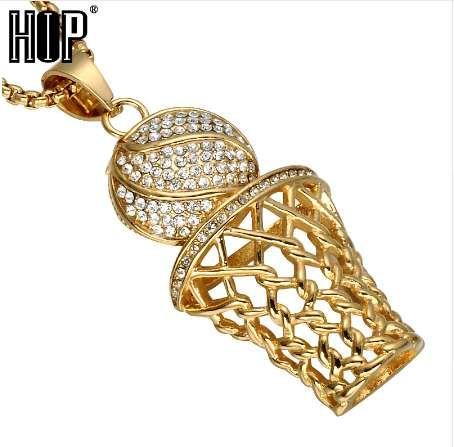HIP Hop Bling Iced Out Gold Rhinestone Completo Colgantes de Baloncesto Collares de Acero Inoxidable 316L Deportes Collar para Hombres joyería