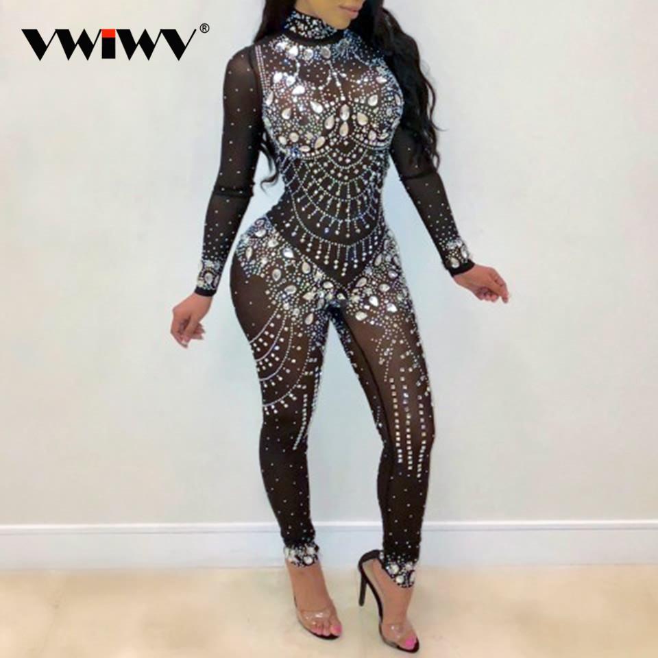 VWIWV Mujeres Mock Neck Jumpsuit Lentejuelas Diamantes de imitación Diamantes Monos de manga larga Body delgado Fiesta Clubwear Romper de una pieza