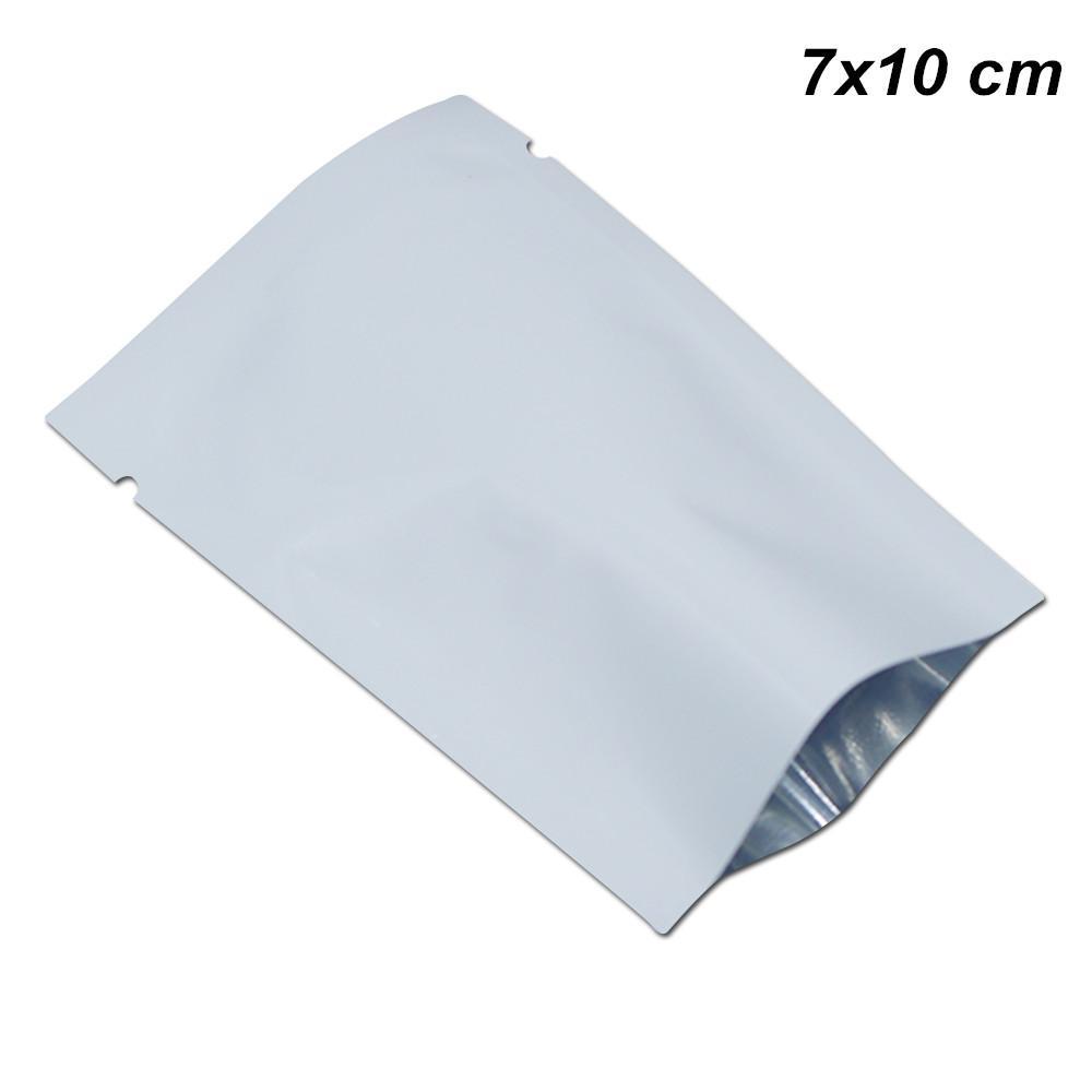200pcs / Lot Bianco 7x10 cm Foglio di alluminio Mylar Open Top Bags Sottovuoto Termico Campione Campione Mylar Foil Baggies per Caffè Tè in polvere