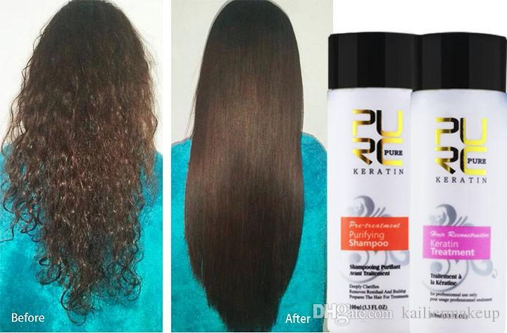 12% Formalin keratin hair treatment and purifying shampoo hair care products set 2017 Brazilian keratin free shipping