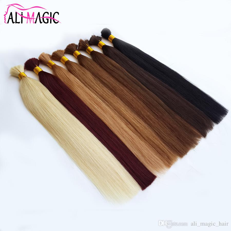 Ali Magic Double Drown Pre-Colored Brazilian Straight Human Bulk Hair Extensions For Braids 1 Bundle Bulk Hair Braids Hair Extension Deal