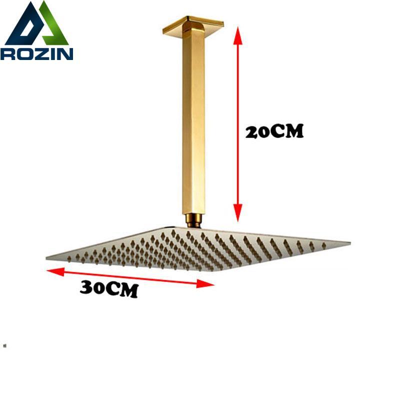 """Brazo de ducha de montaje en el techo de oro de 20 cm 12 """"Ducha de latón lluvia"""