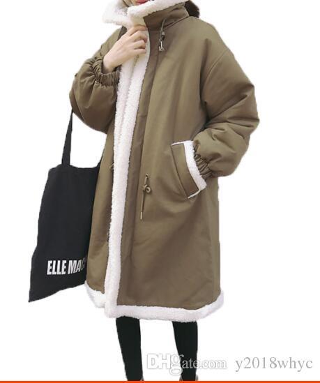 Manteau en agneau épais en coton d'hiver pour femmes en coton d'hiver avec veste de survêtement Parkas en velours