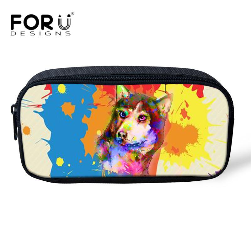 FORUDESIGNS 2018 Colorful 3D Husky Pug Dog Makeup Bags for Girls Student Mini Storage Pen Bag School Office Supplies Stationery