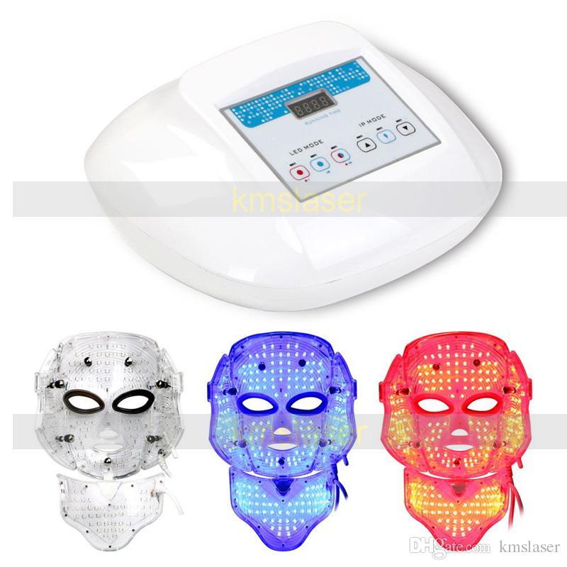 3 colores Rojo azul led máscara de luz máscara de rejuvenecimiento de la piel apriete retiro del acné spa hogar máquina de uso del salón