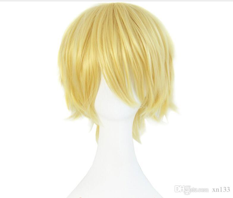 32см блондинка парик короткие вьющиеся термостойкий синтетический костюм партии волос парики высокая температура волокна косплей perucas