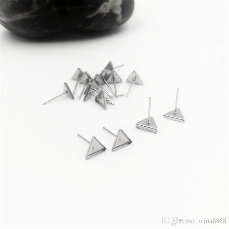 100pcs/lot stainless steel triangle Ear Studs Earring Base Setting Cabochon Setting for earrings making crafts Fashion Whole Sale