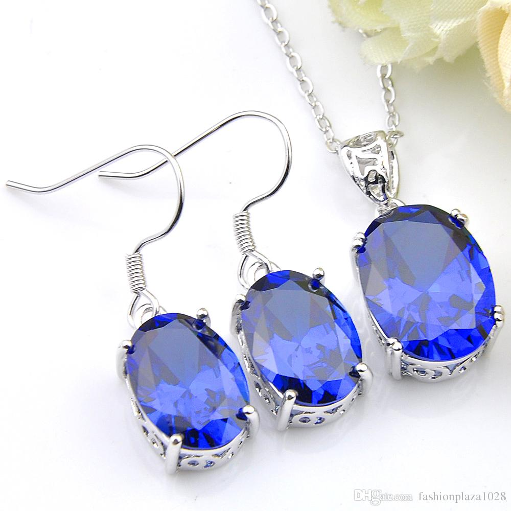 Luckyshien Wholesale Ellipse Crystal Blue Zircon 925 Silver Weddings Jewelry Necklaces Pendant Earrings Sets For Women Free Shipping