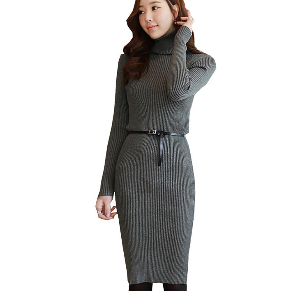 good quality wide varieties footwear 2019 Sweater Dress Women Long Knitwear 2018 Winter Knee Length Slim Bodycon  Knitted Pull Tunics Robe Femme Turtleneck Sweaters Female From Linglon, ...