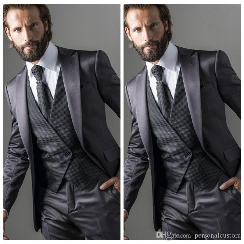 Vogue 2018 Grey Men Wedding Tuxedos Prom Suits Slim Fit High Quality ...