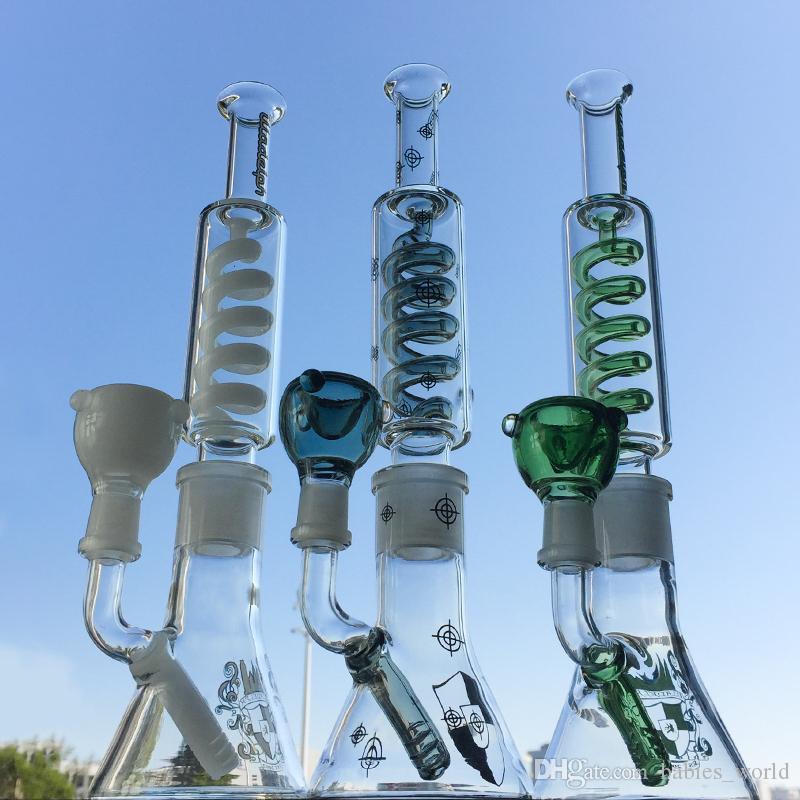 Vaso de precipitados Bong Difuso Downstem aceite Dab aparejo de una interconexión Bong congelar condensador de agua con bobina de 14 mm macho junta de vidrio Bong ILL01-03