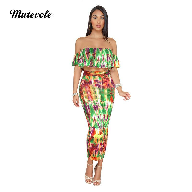 2019 Mutevole PLUS SIZE Two Piece Sets Boho Women Crop Top And Skirt ...