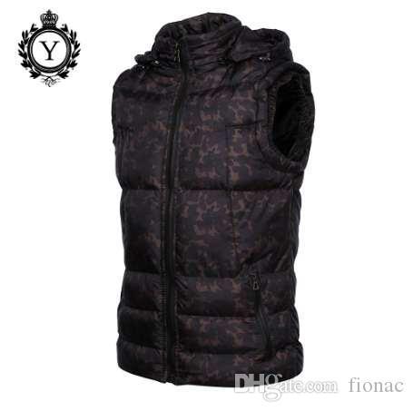 Coutudi 2017 męska odzież zima kamizelki kurtki czarny kamuflaż z kapturem bez rękawów płaszcz ciepłej drukowanej bawełnianej kamizelki