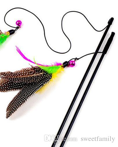 500Pcs Colorful Multi Pet Cat Toys Cute Design Bird Feather Teaser Wand Plastic Pet Toys Products For Cat Toy CSV Drop Shipping