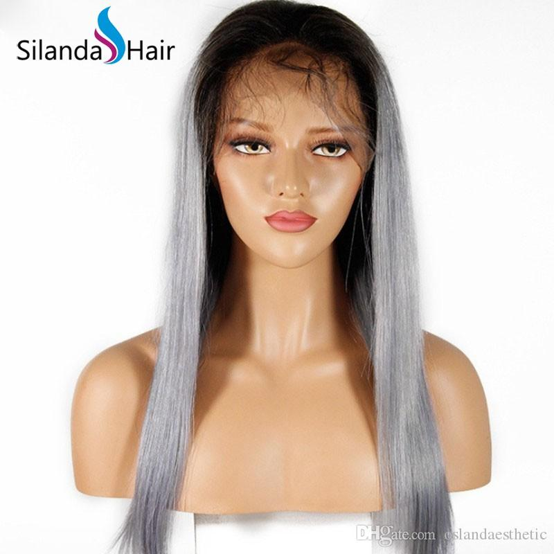 Dark Root #T 1B/Grey Straight Remy Hair Wigs Lace Front Full Lace Human Hair Wig Free Shipping