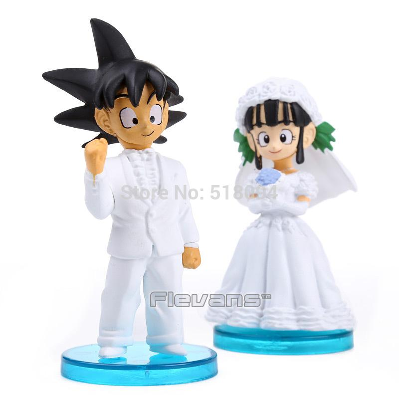 Anime Dragon Ball Goku Chichi Wedding Pvc Action Figure Toys 8cm Set Of 2 Dbfg040 Video Game