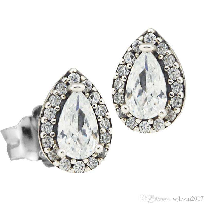 2018 New Authentic 925 Sterling Silver Stud Earrings Sparkling Love Earring Heart Clear Crystal Earings For Women Pan Fine Jewelry