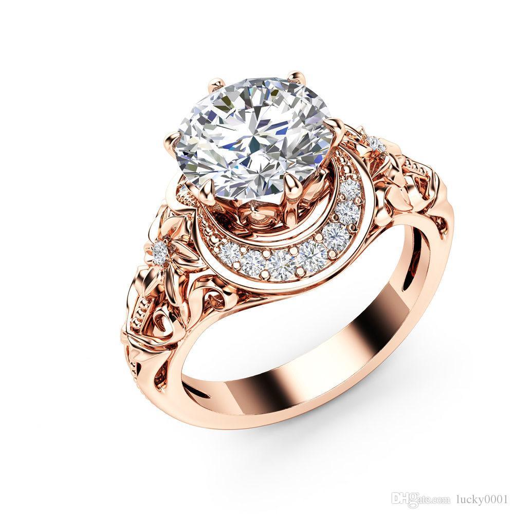 2020 di modo traforato donne anello aggancio floreale rame placcato rosa oro intarsiato