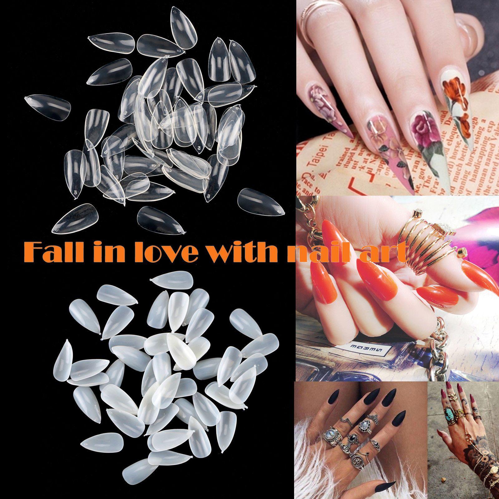 500pc Oval Stiletto Pointy Full False Nail Tips Almond Shape Acrylic Gel Claw