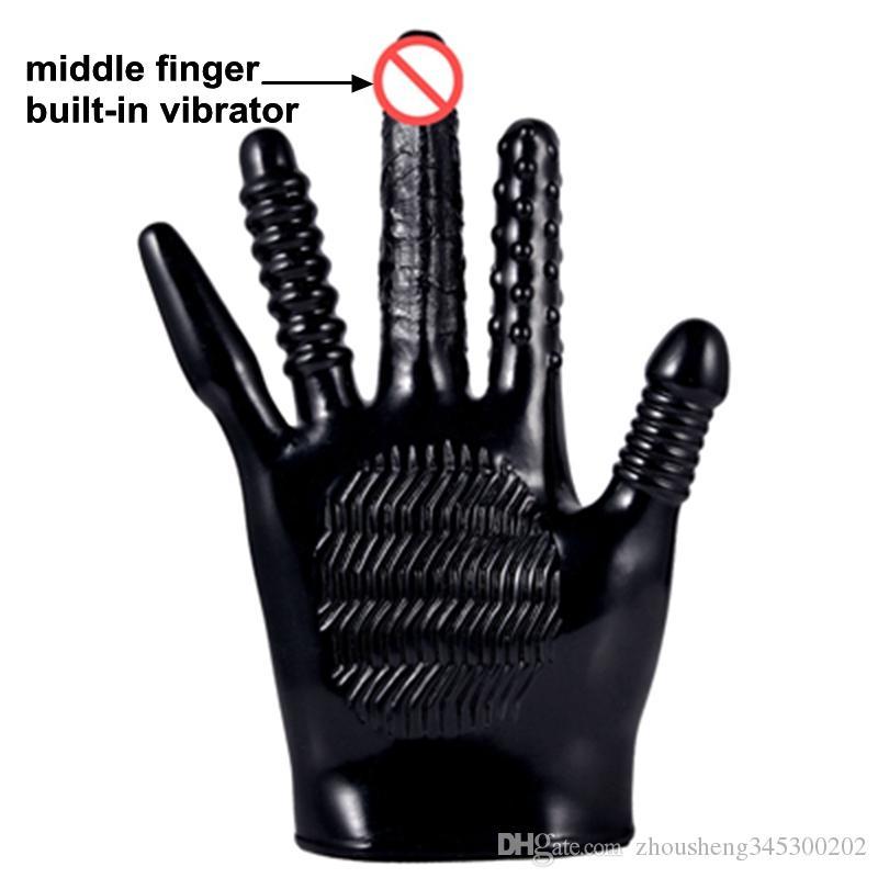Kreatywne rękawice wibracyjne Masaż erotyczny Flirting Dildo Anal Plug Shape Seks Toy Massager Rękawiczki Miękkie dla par DHL