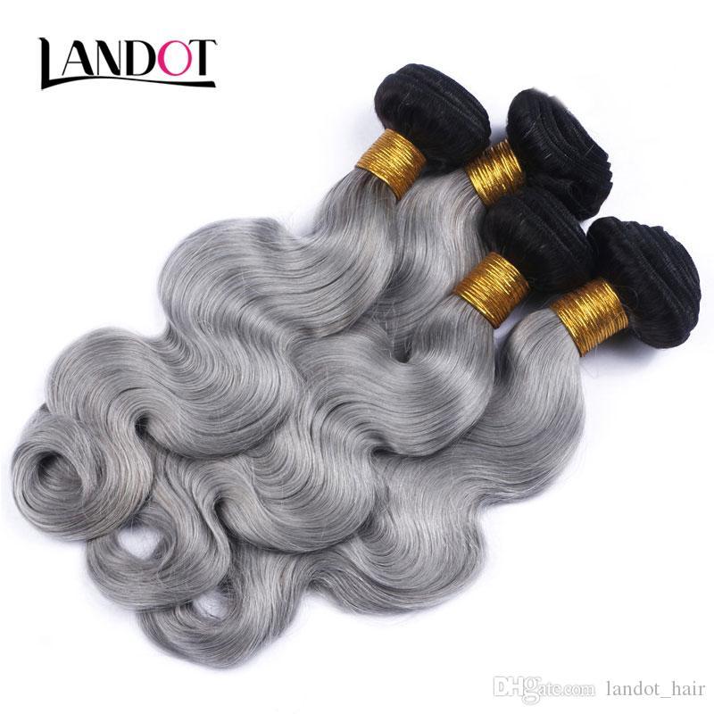 9A Ombre 1B / Color gris Paquetes de armadura de cabello humano virgen brasileño Ondas del cuerpo Extensiones de cabello remy peruano malasio camboyano indio