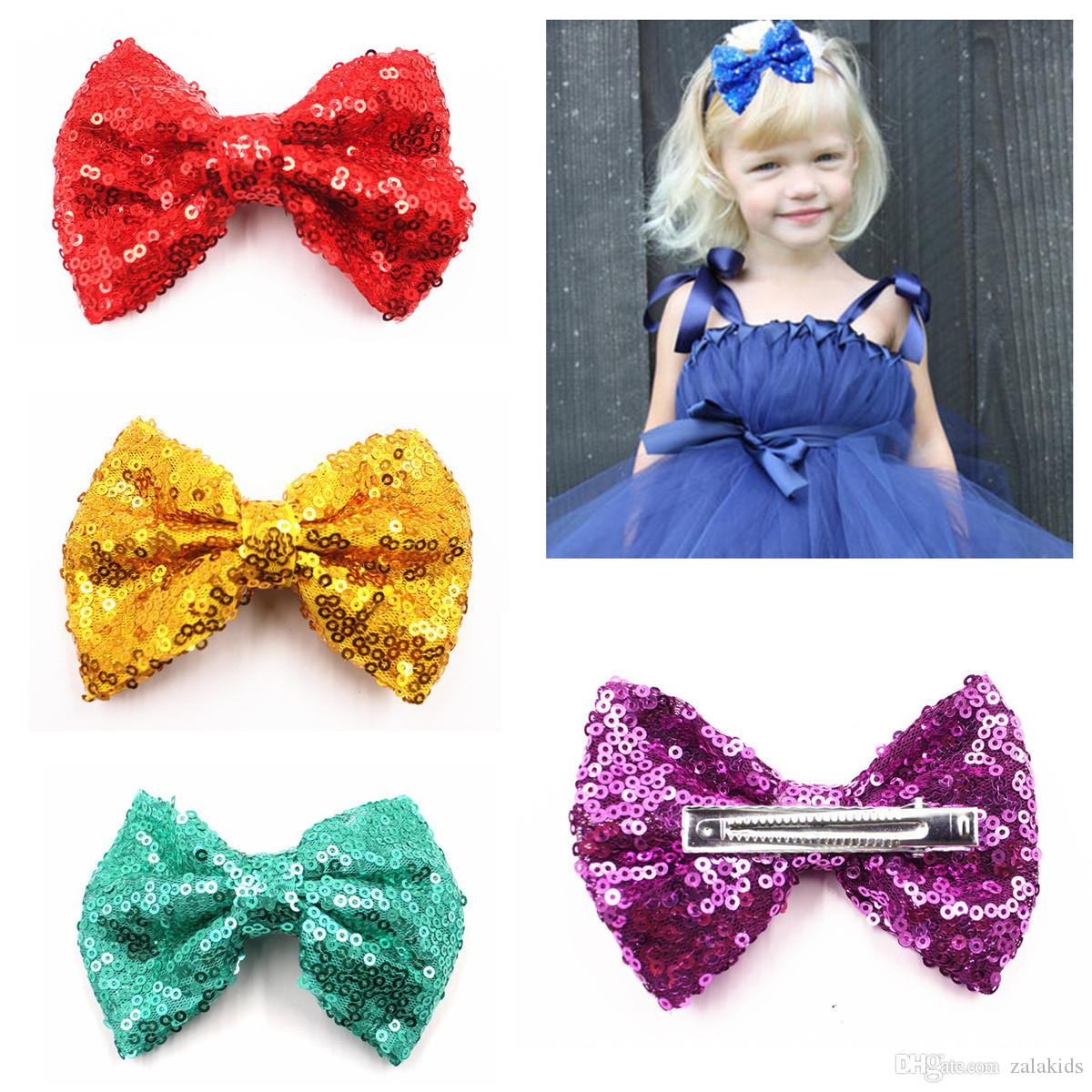 Klip Çocuk ile 4 inç çocuk pullar HairBow, Bebek Kız Saç Yaylar Saç Aksesuarları saç tokası 15color saç tokası