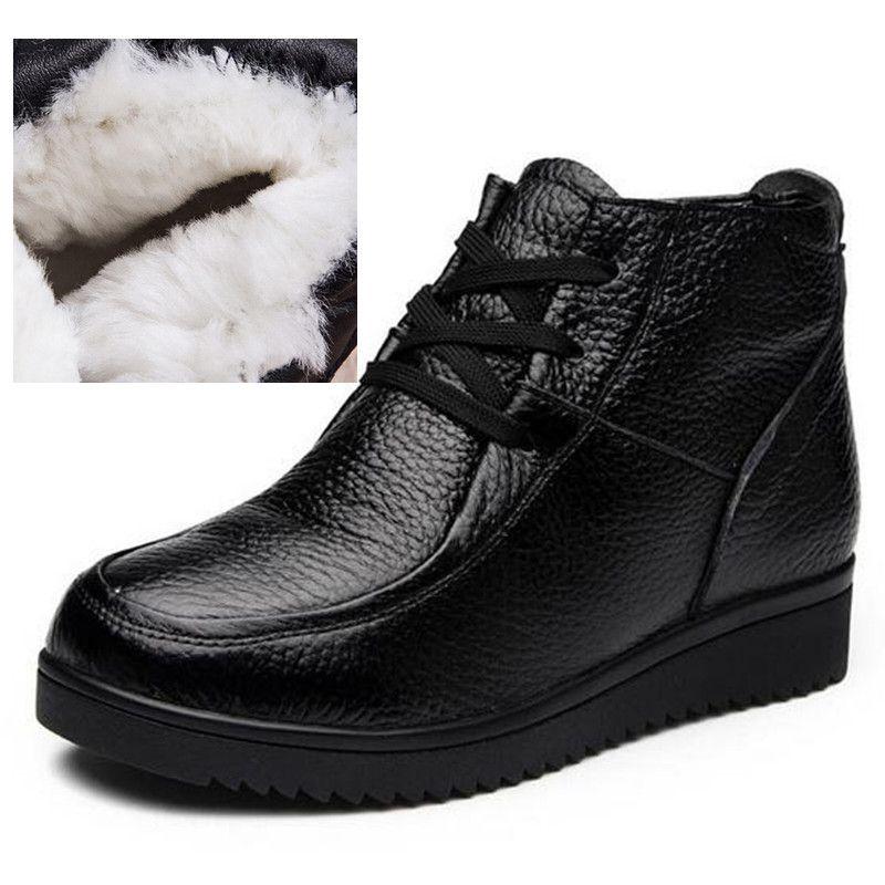 Sıcak satış 2018 Yeni Konfor Sıcak Yün Kış Çizmeler Düz kaymaz Dantel-up Rahat Ayakkabı Sneakers Kadın Çizmeler Artı Boyutu Hakiki Deri Çizmeler