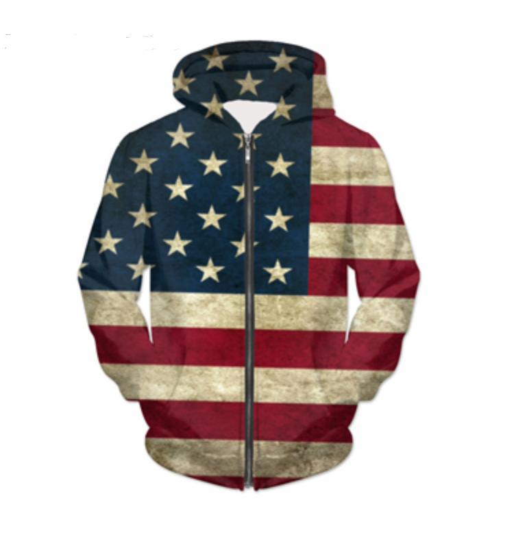 Новая мода молнии балахон национальный флаг 3D печать Zip-Up толстовки психоделический толстовка Мужчины / Женщины Harajuku наряды топы YY045