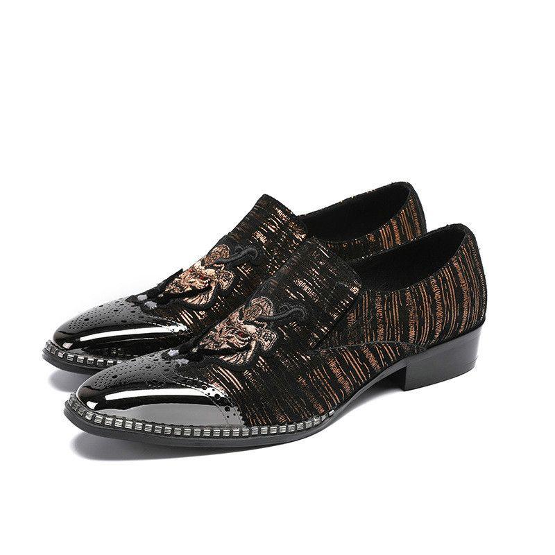Retro Mischfarbe Echtes Leder Männer Kleid Schuhe Silber Metall Toe Gentleman Party Hochzeit Schuhe Stickerei Beleg Auf Schuhe