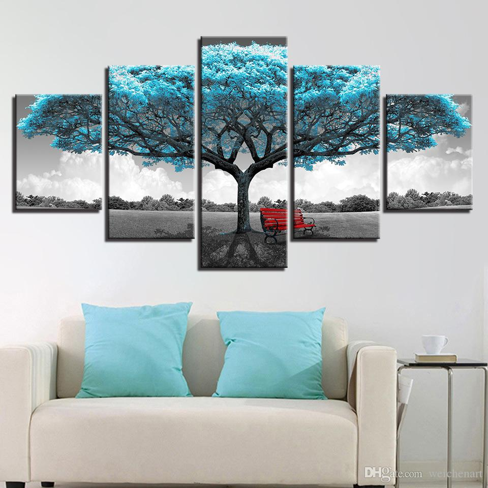 Canvas Prints Paintings Framework Living Room Decor 5 Pieces Blue Big Tree Red Chair Pictures Abstract Landscape Poster Wall Art