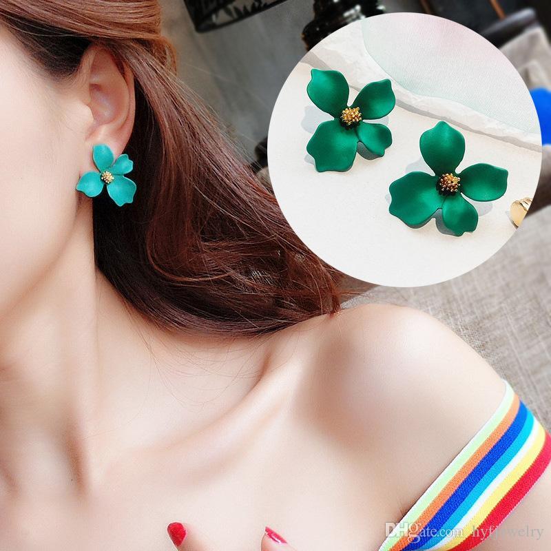 New Fresh Alloy Flowers Stud Earring Jewelry 925 Sterling Silver Ear Needle Earring Women Festival Gift