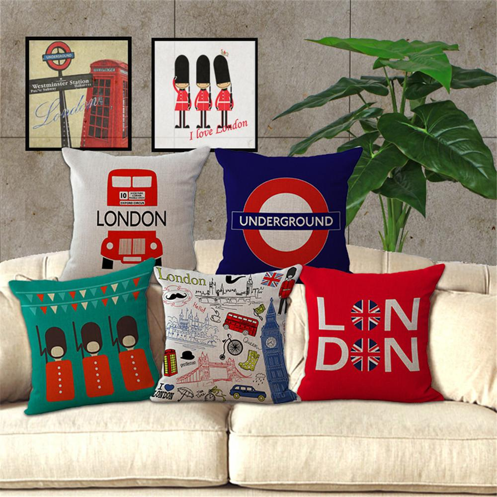Precio barato Inicio Decorativo funda de almohada de tiro london style car soider soldados funda de cojín de lino de algodón para sofá almofadas