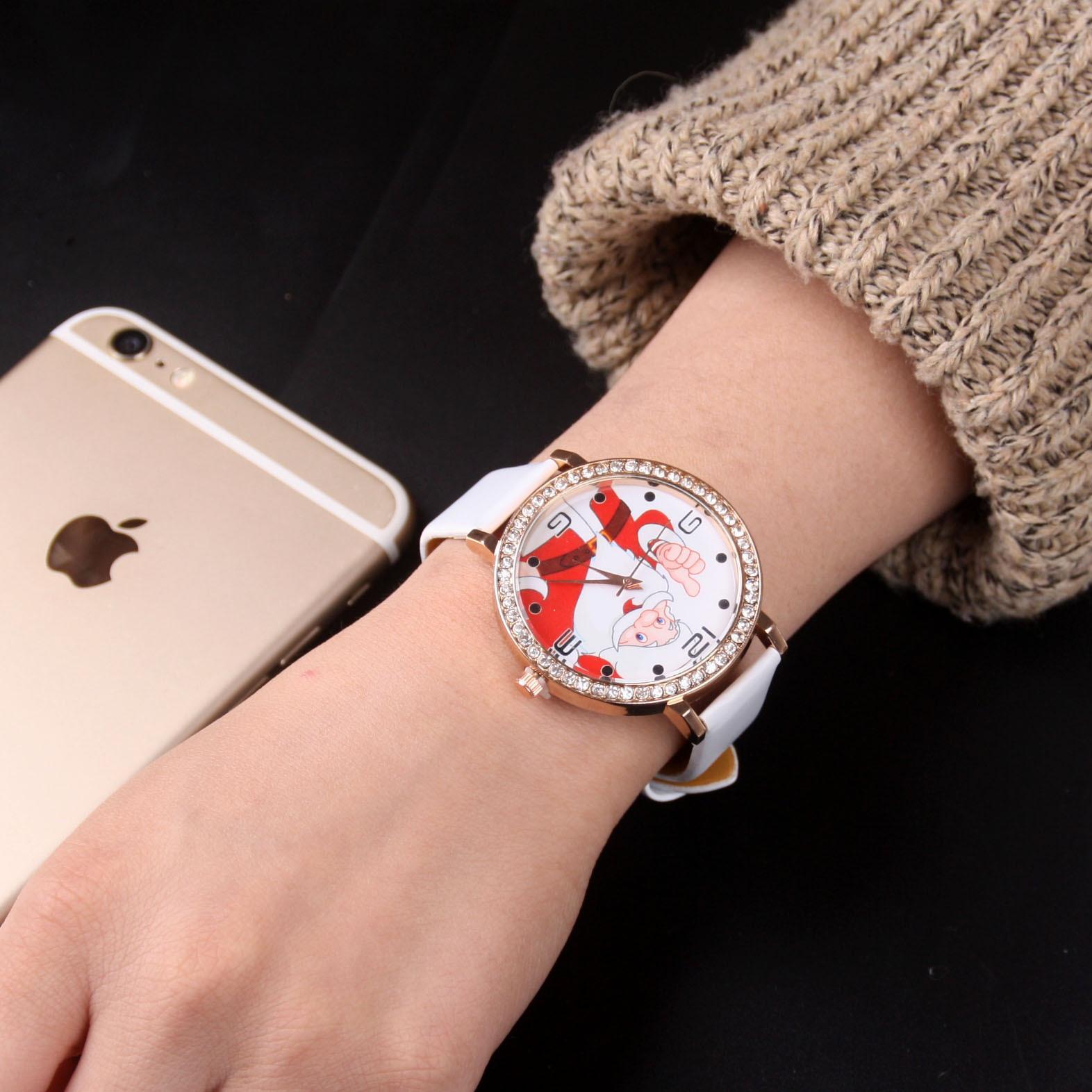 Weihnachtsgeschenke Uhren Großhandel Europa und Amerika Creative Quarz casual Uhren Santa Claus Persönlichkeit Uhr