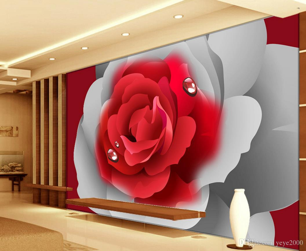 Compre Papel De Parede Parede De Tijolos 3d Romântico Rosas Vermelhas Tv Pano De Fundo Pintura Decorativa Belo Cenário Papéis De Parede De Yeye2000