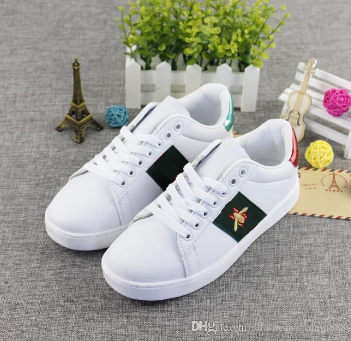 Herren Designer Luxus Schuhe Freizeitschuhe weiße Frauen Turnschuhe gute Stickerei Biene Schwanz Tiger Hund Obst auf der Seite mit OG Box 01