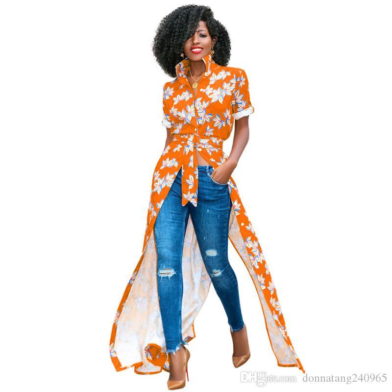 Various Color Floral Print Ankle Long Shirt Dress Lady Half Sleeve Button Up Summer Elegant Shirt With Belt Vintage Loose Casual Long Blouse