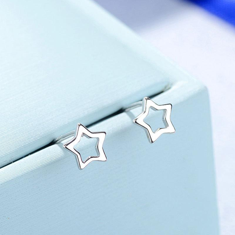 S925 Tremella femme ongles coréen évider étoile à cinq branches boucle d'oreille étudiant mori personnalité ornements concis