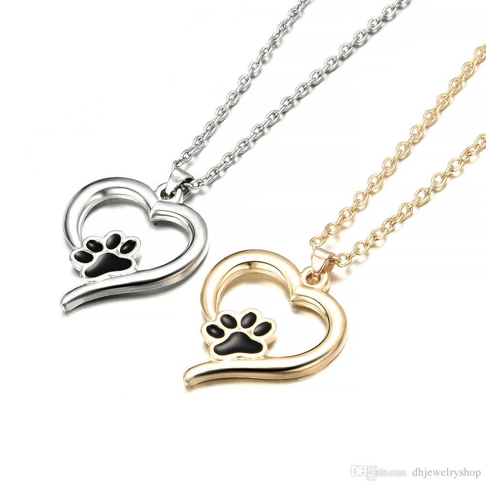 Moda Lindo Paw Heartbeat Imprimir Amor Corazón Collar Colgante Joyería Mascota Perro Gato Memorial Amantes Regalo