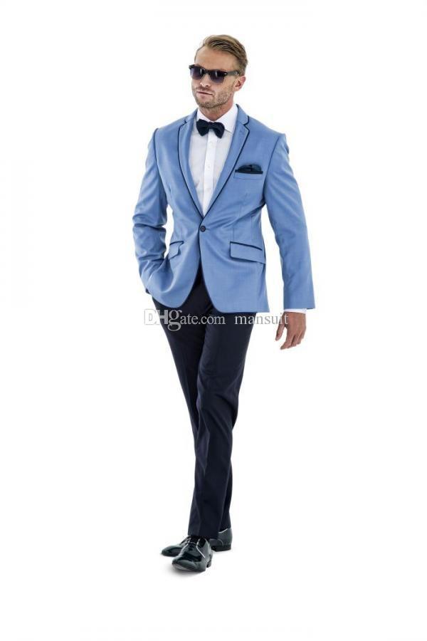 Custom Made Groomsmen Notch Revers Marié Tuxedos Un Bouton Hommes Costumes Mariage / Prom Le Meilleur Homme Blazer / Époux (Veste + Pantalon + Noeud Papillon) M325