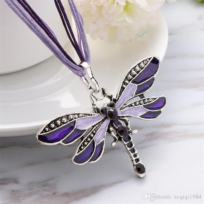 Enamel Dragonfly Pendant Necklace Lace Wax Rope Chain Bohemian Statement Crystal Dragonfly Necklace for Women Jewelry