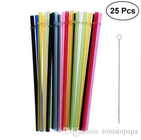 25 pcs Cor Pura Reutilizável De Plástico Palhinhas De Espessura de Duas Cores De Palha Com Rosca para Uso Doméstico Festa com Pincel (Cores Misturadas)