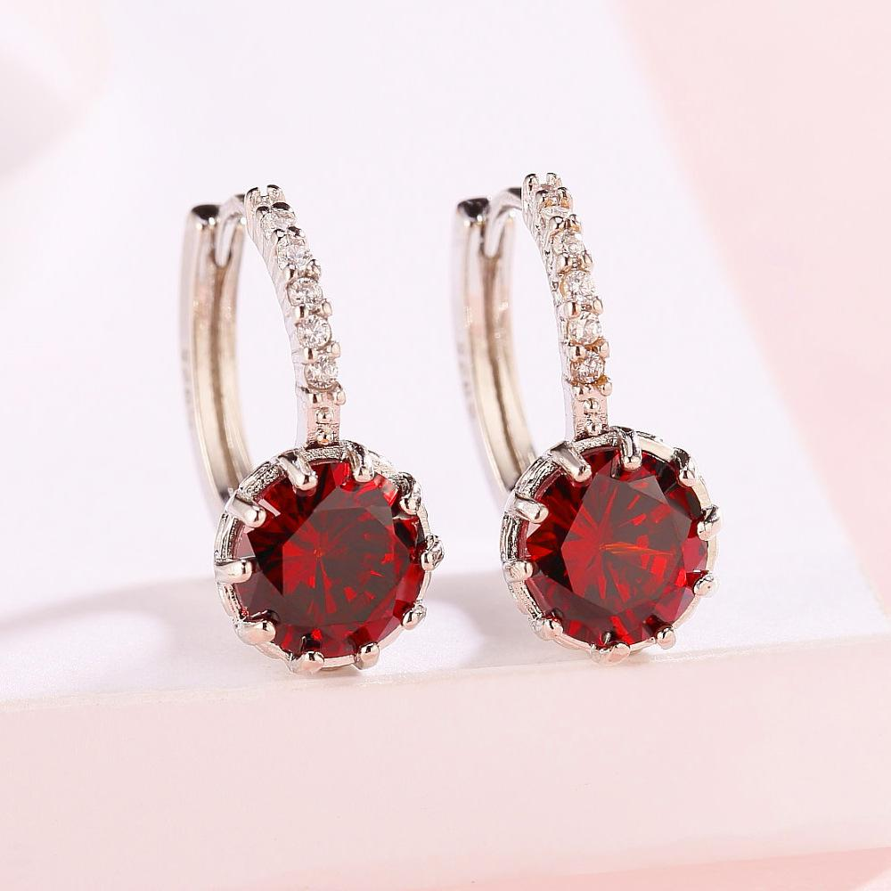 Earrings Quality Metallic Earrings Fashion Earing Accessories Blue and Red Color Crystal Stud Silver and Gold Plated