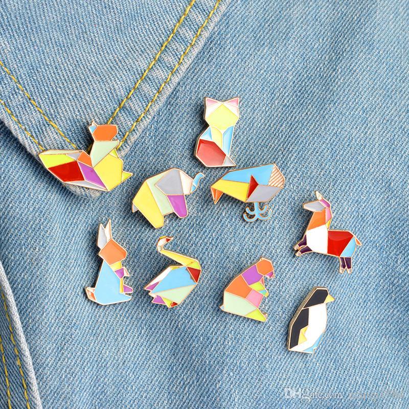 Origami Animal lapela Pin esmalte pinos elefante coelho Bunny broches urso esquilo baleia pinguim Fox Design