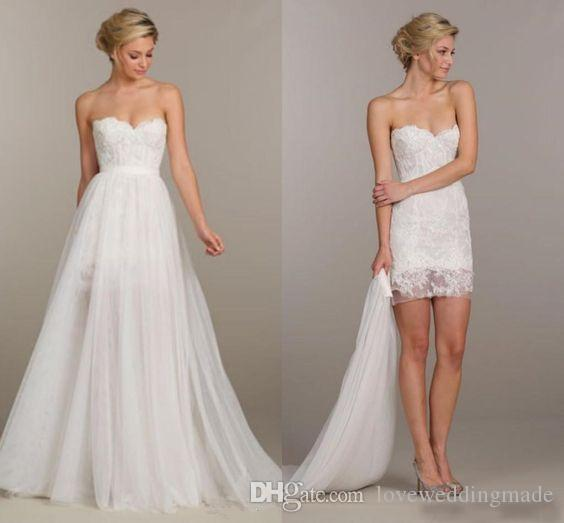 2019 Cheap Detachable Skirt Two Pieces Wedding Dresses Boho Sweetheart Lace Chiffon Detachable Train Bridal Gowns Holiday Party