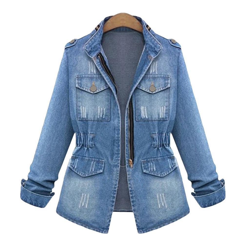 Kış Retro Yıkanmış kadın Ceket Fermuar Cep Uzun Kollu Standı Yaka Slim Fit Denim Ceket S-5XL