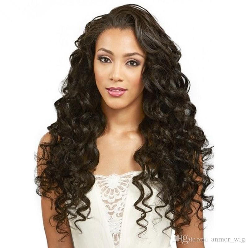 2018 shine soft best beauty smooth sexy 100% unprocessed remy virgin human hair natural color long deep wave full lace wig for women