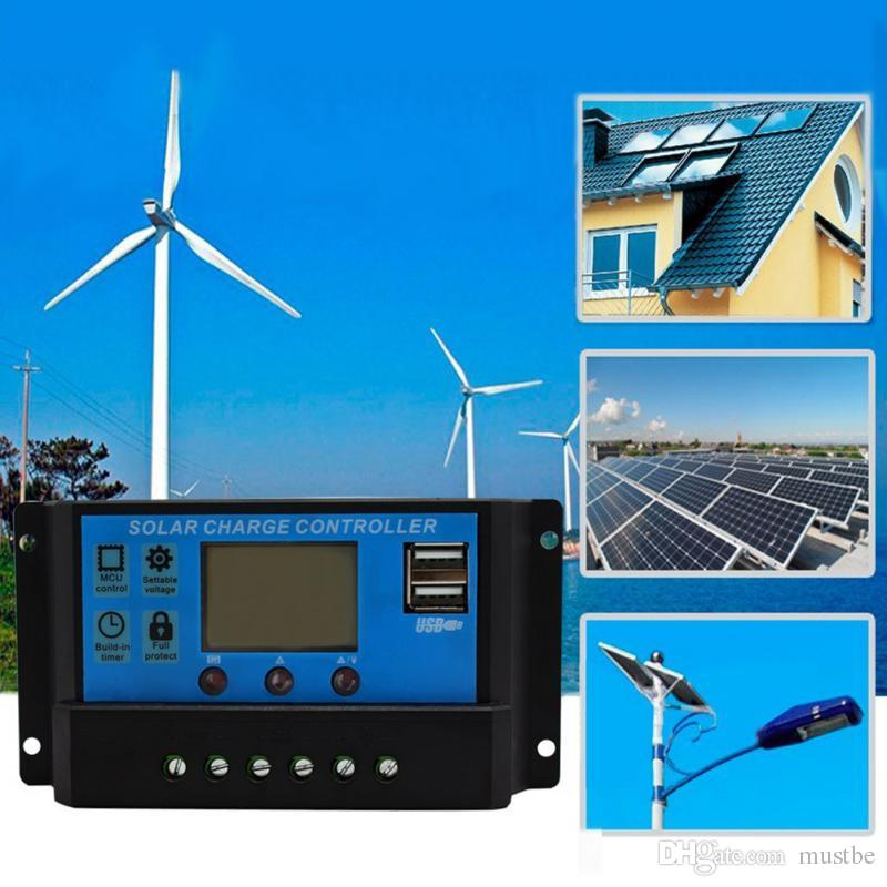 10a painéis solares controlador de carga da bateria 10/20/30 ampères regulador temporizador da lâmpada 12 v 10a painéis solares bateria cpanels controlador de carga da bateria