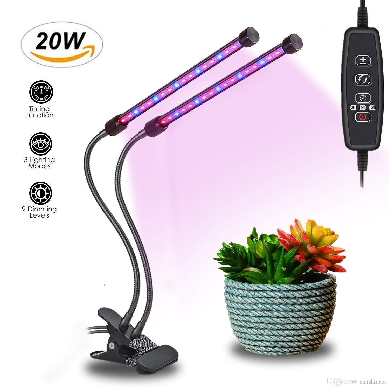Завода светать с 3/9/12-часовой двойной таймер головной завод растет светильник с 40 LED красный/синий гусиная шея 9 уровней затемнения светать для комнатных растений