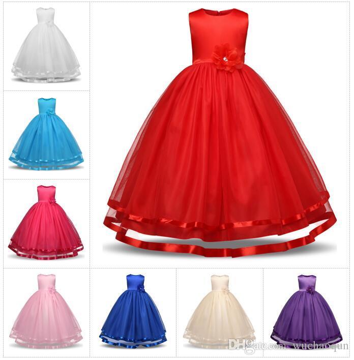 Vestiti delle ragazze di fiore Principessa convenzionale del vestito da cerimonia nuziale di spettacolo dei capretti Vestiti dei bambini Vestiti lunghi delle ragazze Vestito da cerimonia nuziale della damigella d'onore del vestito