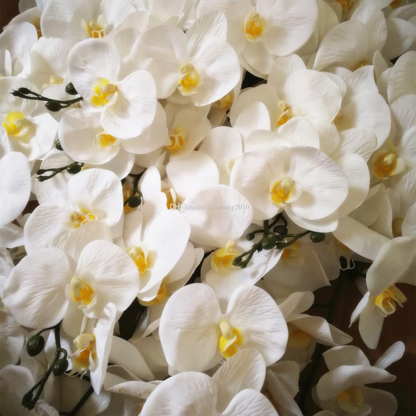 Один PU Фаленопсис Цветок 100см Long Real ощупывание касания Искусственные бабочки цветок орхидеи белый / фуксия для свадебных Centerpieces